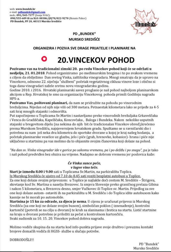 VINCEKOV POHOD, 21. januar 2018 (PD Bundek, Mursko Središče)